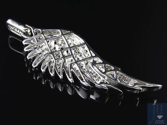 Jewelry Unlimited 10K White Golf Angel Wing Diamond Pendant 2.25 Inches 1.5 Ct Image 7