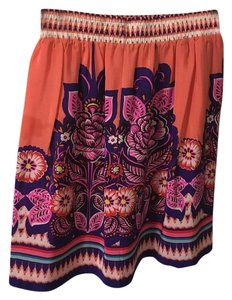 Anthropologie Floral Silk Skirt