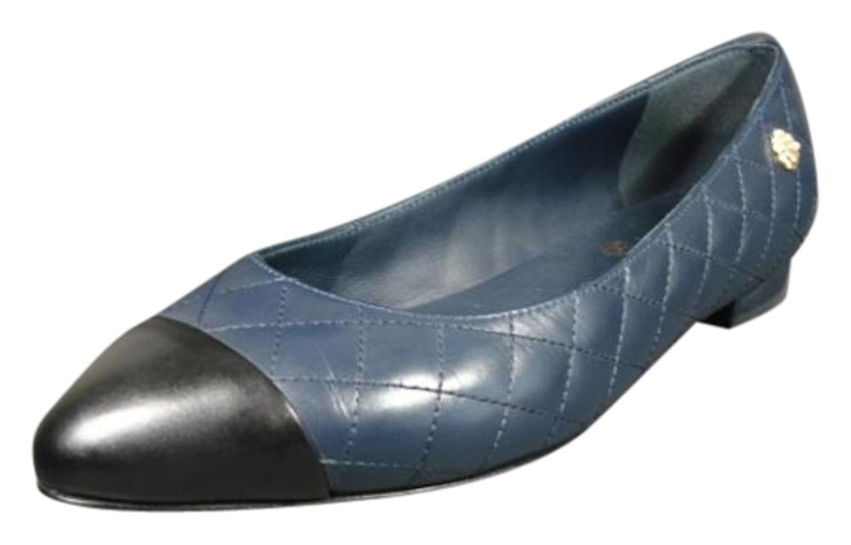 9c92bf3f86e Chanel Calfskin New Rounded Point Toe Navy Blue   Black Flats Image 0 ...