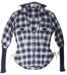 Byron Lars Beauty Mark Fitted Plaid Top Blue