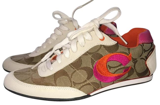 Item - Tan with White Pink & Orange Accents Perrie Signature Sneakers Size US 7 Regular (M, B)