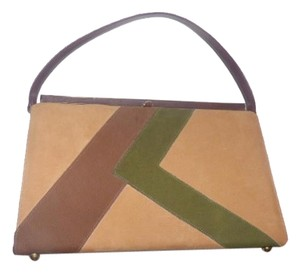 Naturalizer Early Mod Kelly Style Top Handle Excellent Vintage Satchel in browns greens color block faux suede & leather