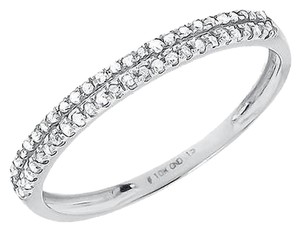Jewelry Unlimited 10k,White,Gold,Ladies,Round,2,Row,Diamond,Wedding,Fashion,Band,Ring,0.15,Ct