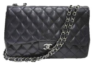 Chanel Silver Caviar Flap Shoulder Bag