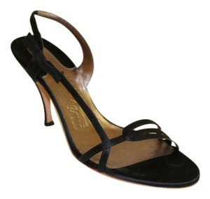 Salvatore Ferragamo Satin Strappy Evening Black Pumps
