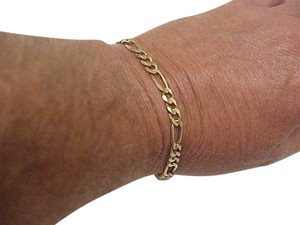 Solid 14k Yellow Gold Figaro Link Chain Bracelet 9 3/4