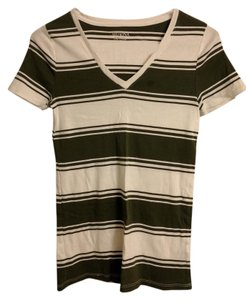 Merona V-neck Olive T Shirt White and Green