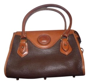 Dooney & Bourke Excellent Vintage Satchel in browns and rust color block leather