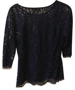 Willi Smith Lace Three Quarter Sleeve Top Navy Blue