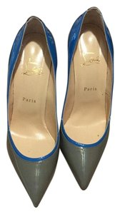 Christian Louboutin Light grey with a dark grey heel and a blue strip Pumps