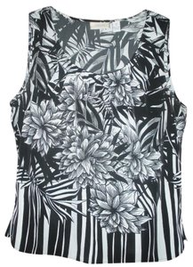 Chico's Floral Striped Top Black/White