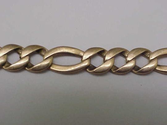 Other Solid 14k Yellow Gold Figaro Link Chain Bracelet 8