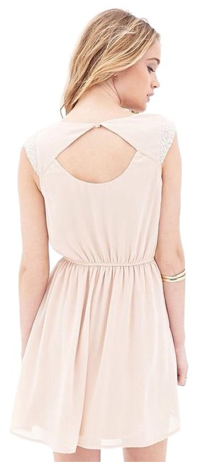 Preload https://img-static.tradesy.com/item/18770842/forever-21-blush-pink-peach-chiffon-with-faux-pearl-detail-above-knee-cocktail-dress-size-4-s-0-2-650-650.jpg