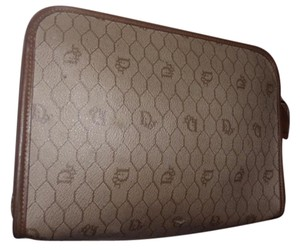 Dior Excellent Vintage shades of brown honeycomb print coated canvas & leather Clutch