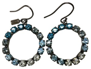 Coach Round Blue, Grey and White Crystal Earrings