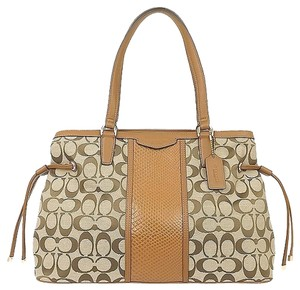 Coach Signature Python Snake Satchel in Khaki Saddle Brown
