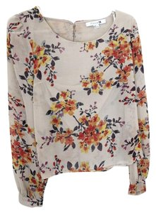 Forever 21 Floral Polyester Top Taupe