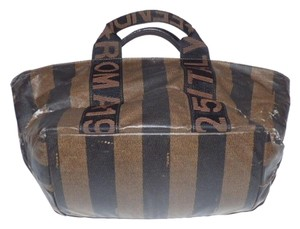 Fendi Excellent Vintage Rare Shape/style Perfect For Travel Clutch/cosmetic Wide Striped Design Satchel in shades of brown coated canvas & leather