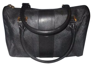 Fendi Great 1st Vintage Rare Black Has Dust Gold Hardware Satchel in black/grey small F logo print coated canvas & leather