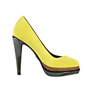 Cole Haan Heels Suede Platform Yellow Pumps
