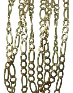 Estate Italy 14k Yellow Gold Unisex Figaro Chain Necklace,26