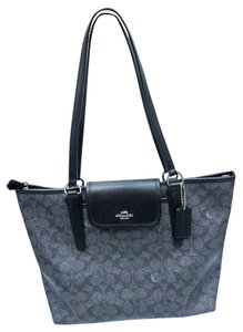 Coach Black Leather Canvas Large Ward Tote in Black Smoke