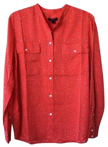 J.Crew Stars Silk Button Down Shirt Red