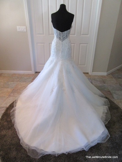 Kenneth Winston Ivory/Silver Lace Tulle & Organza 1656 Sexy Wedding Dress Size 14 (L)