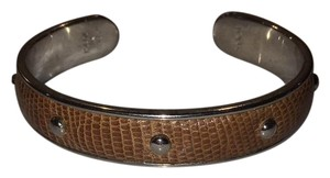 Tod's Brown Lizard Silver Cuff