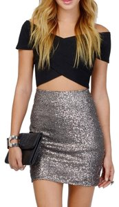 Tobi Night Out Club Pencil Mini Skirt Metallic, Silver, Gold, Grey