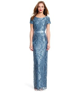 Adrianna Papell Dusty Blue Lace Column Gown Dress
