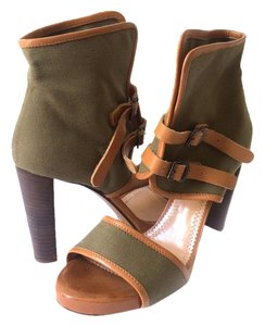 Chloé Canvas Leather Khaki Military Inspired Open Toe Khaki Green Boots