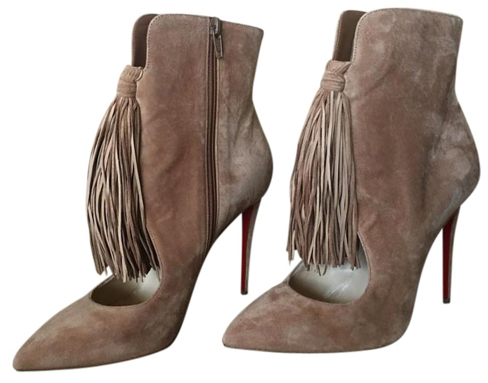 Christian Louboutin Brown/Tan Ottocarl Ankle 100mm Noisette Suede Fringe Ankle Ottocarl Heel Sz. 39 Euro Boots/Booties ece169