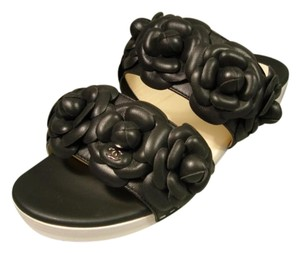 Chanel New 2 Strap With Flowers Slip On Black Mules