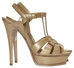 Saint Laurent Goldy Nude Platforms