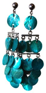 Blue Shell Chandelier Earrings