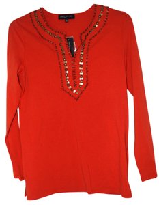 Jones New York Beadwork Brushed Gold Longsleeve Cotton Tunic