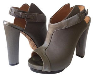L.A.M.B. Leather Satin Platform Slingback Gray Boots