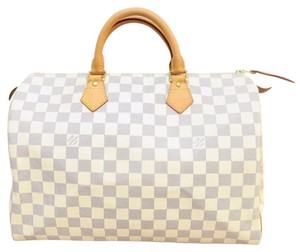 Louis Vuitton Damier Azur Canvas Lv Tote in white
