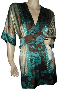 fashionista short dress turquoise brown gold on Tradesy