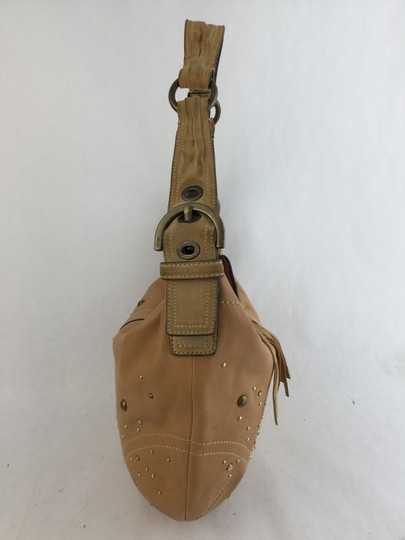 Coach Cc Over The Shoulder Leather Hobo Bag