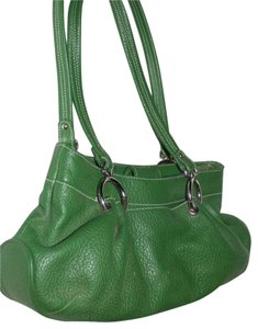 Maxx New York Mint Condition Pop Of Color Multiple Compartment Footed Bottom Chrome Hardware Satchel in kelly green leather