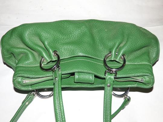 Maxx New York Mint Condition Pop Of Color Multiple Compartment Footed Bottom Chrome Hardware Satchel in kelly green leather Image 1