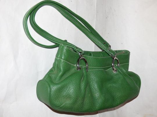 Maxx New York Mint Condition Pop Of Color Multiple Compartment Footed Bottom Chrome Hardware Satchel in kelly green leather Image 10