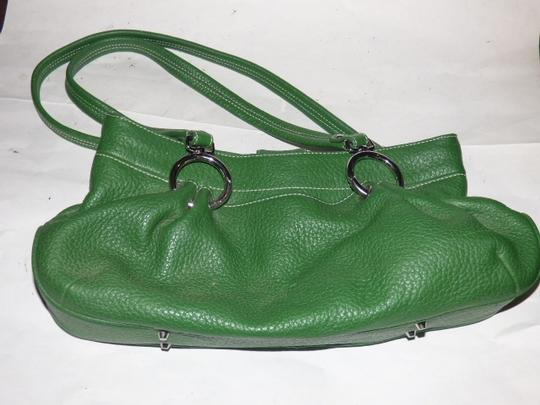Maxx New York Mint Condition Pop Of Color Multiple Compartment Footed Bottom Chrome Hardware Satchel in kelly green leather Image 11