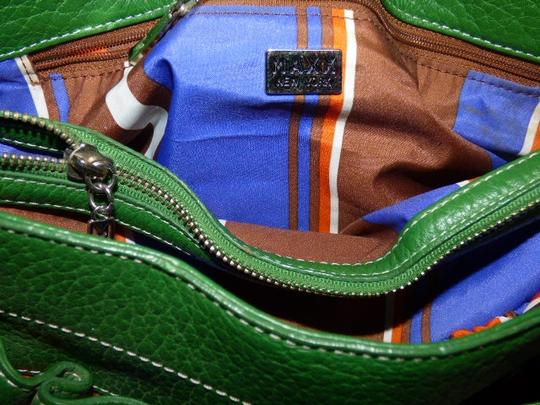 Maxx New York Mint Condition Pop Of Color Multiple Compartment Footed Bottom Chrome Hardware Satchel in kelly green leather Image 2