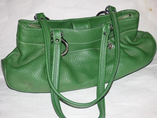 Maxx New York Mint Condition Pop Of Color Multiple Compartment Footed Bottom Chrome Hardware Satchel in kelly green leather Image 6