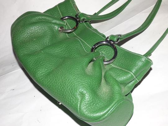 Maxx New York Mint Condition Pop Of Color Multiple Compartment Footed Bottom Chrome Hardware Satchel in kelly green leather Image 8