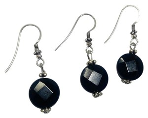 Sterling Silver & Black Onyx Gemstone Earrings Pair w/ Free Spare J800