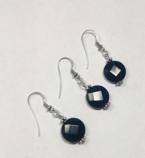 Other Sterling Silver & Black Onyx Gemstone Earrings A361 Image 1
